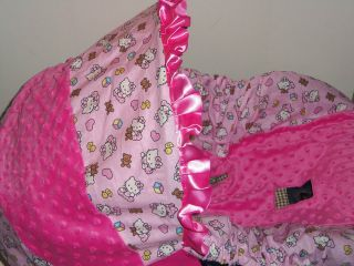 Hello Kitty Baby Infant Car Seat Cover with HOT PINK MINKY Graco