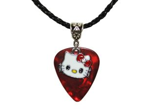 Fender GUITAR PICK Enamel HELLO KITTY Charm Red Bow Pendant & Necklace