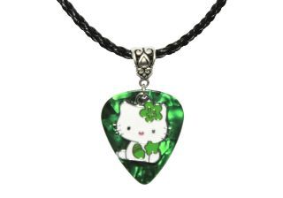 Fender GUITAR PICK Enamel HELLO KITTY Charm Pendant & Leather Necklace
