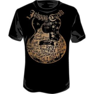 New Johnny Cash Guitar Song titles Men adult Soft T shirt tee top S M