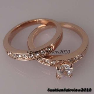 Crystals 18K Rose Gold GP 2 in 1 Engagement Wedding Ring IR048A