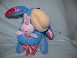 Eeyore Plush Rattle Pink Bunny Blanket Fisher PRice 2004 Soft Toy