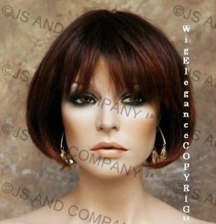 Back in Stock 100% HUMAN HAIR Straight RED AUBURN MIX Short Trendy