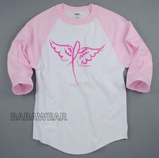 Breast Cancer Pink Ribbon Baseball Raglan Unisex T Shirt Angel Wings