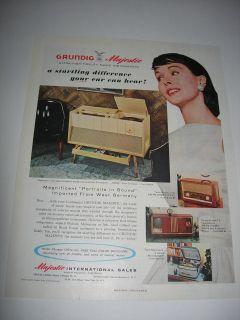 1957 GRUNDIG MAJESTIC RADIO PHONOGRAPH ORIGINAL advertisement PRINT AD