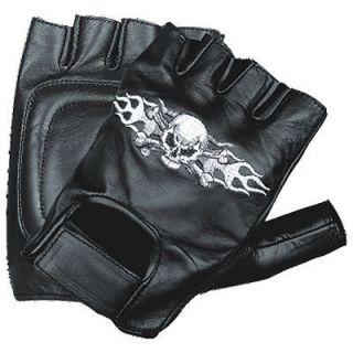 fingerless leather motorcycle gloves in  Motors