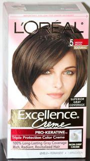 OREAL PARIS EXCELLENCE CREME HAIR COLOR, 5 MEDIUM BROWN NATURAL