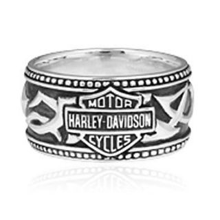 Mens Harley Davidson Tribal B&S Band Ring. HDR0239