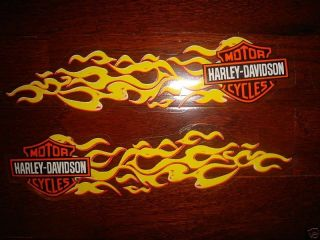 HARLEY DAVIDSON PAIR SMALL YELLOW FLAMES WINDOW/WINDSHI​ELD DECALS
