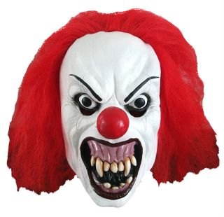 EVIL HORROR PENNYWISE CLOWN LATEX HALLOWEEN COSTUME MASK WITH RED WIG