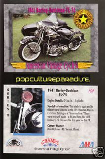 1941 HARLEY DAVIDSON FL 74 Bike Vintage Motorcycle CARD