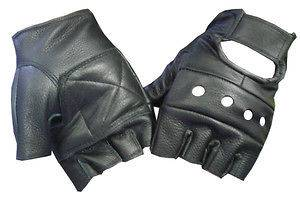 Fingerless Leather Vented Black Cowhide Glove with Velcro Motorcycle