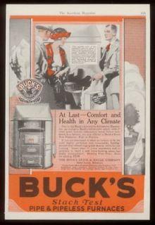 1921 Bucks Stove stack test furnace vintage print ad