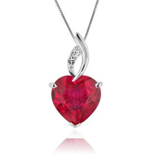 Ruby & White Sapphire Heart Pendant in Sterling Silver with Chain