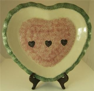 LARGE HEART SHAPED PLATE RED & GREEN GUYROC CHINA