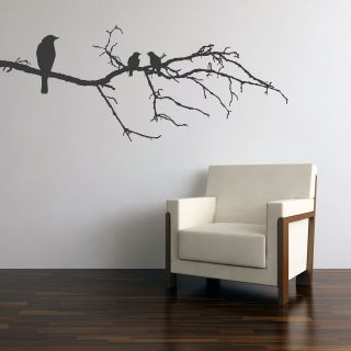 BLACK BIRDS ON BRANCH WALL STICKER DECAL TREE GRAPHIC MURAL ART