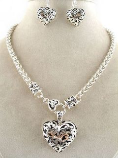 INSPIRED  HEART NECKLACE   SILVER AND BLACK HEART NECKLACE  CHUNKY