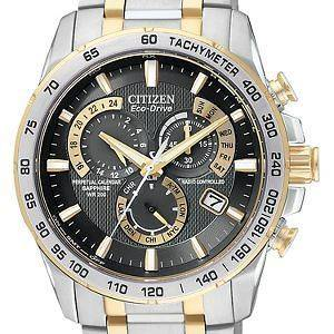 Citizen Mens Eco Drive Tutone Stainless Steel Perp Chrono A T Watch
