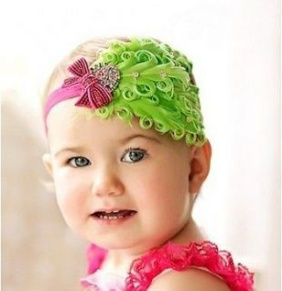Baby vintage Feather Pad prop headband flower hair Accessorie for