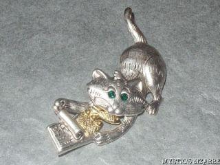 DANECRAFT SILVER & GOLD TONE CRYSTAL CAT wt TIN SARDINES BROOCH UNWORN
