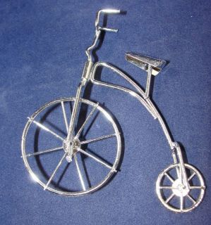 Vintage 4 Silver Metal High Wheel Bicycle Christmas Ornament Rolling