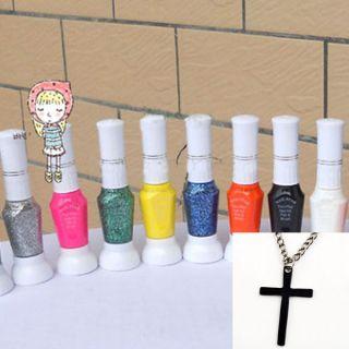 Pure Glitter Color 2 Way Nail Art Brush Pen Varnish Polish Set Cross
