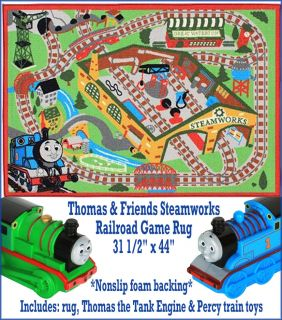 & Friends Steamworks Railroad Game Rug W/ Thomas & Percy Train Toys