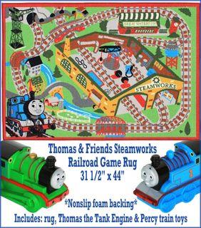 & Friends Steamworks Railroad Game Rug W/ Thomas & Percy Train Toys