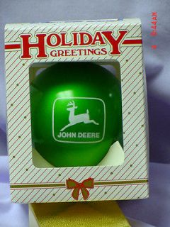 JOHN DEERE GLASS CHRISTMAS ORNAMENT, MADE IN USA