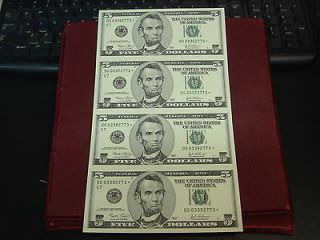 Uncut Sheet of 4 2003 $5 Five Dollar Federal Reserve Star Notes