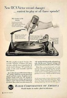 1952 Ad RCA Victor Record Player Radio Corporation Victorola Slip on