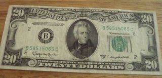 ANDREW JACKSON 20 DOLLAR BILL FEDERAL NOTE US CURRENCY SMALL TWENTY