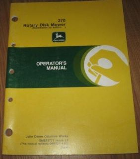 John Deere 270 Rotary Disk Mower Operators Owners Manual ID no