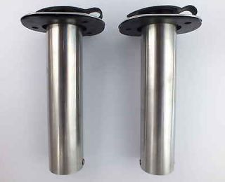 2X STRAIGHT 0 DEG ROD HOLDERS 316 MARINE STAINLESS STEEL RUBBER CAP