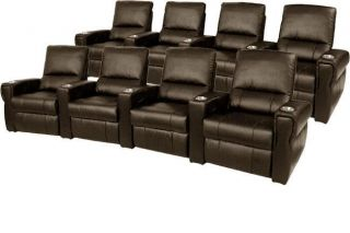 Home Theater Seating 7 Leather Seats Power Recliner Brown Chairs