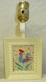 Antique Wrought Iron Frame Wall Lamp Blue Rooster