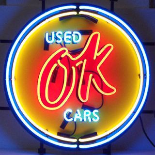 Vintage OK Used Cars Neon Sign Gm American Auto Light Garage Man Cave