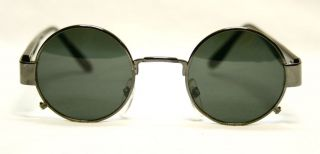 Vintage Black Round Metal Frame Dark Lenses Mens Womens Sunglasses