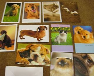CATS and DOGS Assorted greeting cards Total of 12 cards