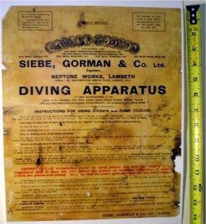 Antique Hardhat Diving Air Pump Apparatus Document