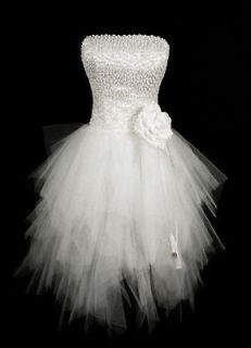 Short White Wedding Dress Cocktail Mini Ball Bridal Gown SZ 6 8 10 12