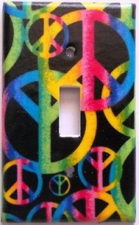 Peace Sign Hot Pink Purple Yellow Light Switch Outlet Plate Bedroom