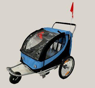 Double Swivel Blue 2in1 Bicycle Bike Trailer Stroller Jogger Carrier