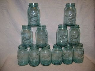 12 Vintage Ball Ideal Blue Quart Mason Jars