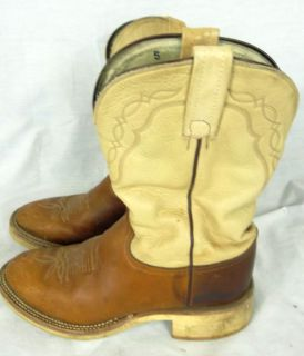 Womens Tony Lama Leather Cowboy Boots Western Brown Beige 8 B