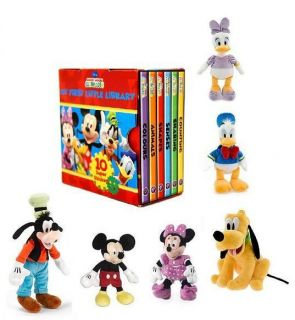 Disney Mickey Mouse Clubhouse Little Library 6 Book Set and Toy