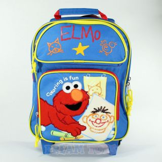 Elmo Coloring 12 Toddler Small Rolling Backpack   Roller Wheeled