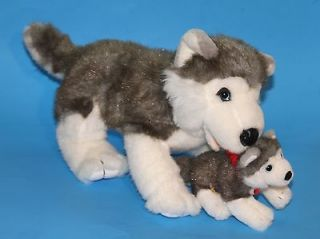 GREY/ WHITE HUSKY/ WOLF DOG LARGE PLUSH w/ PUPPY/ CUB BUILD A BEAR