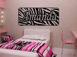 Personalized Zebra Stripe Name Vinyl Wall Decal Sticker Animal Print