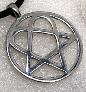 Heartagram Heart Pentagram Magic Star Silver Pewter Pendant Necklace